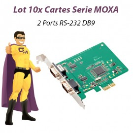 Lot 10 Cartes PCI-E 2 Ports Serie RS-232 DB9 Moxa CP-102E Linux Windows