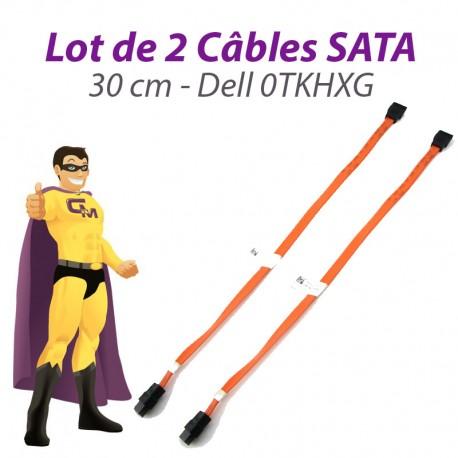Lot x2 Câbles SATA 0TKHXG TKHXG DELL Inspiron Optiplex Vostro DT SDT 30cm orange