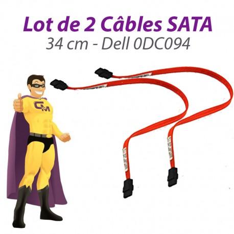 Lot x2 Câbles SATA 0DC094 DC094 DELL Inspiron Optiplex Dimention 34cm orange