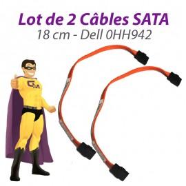 Lot x2 Câbles SATA 0HH942 HH942 DELL Optiplex 755 760 SFF 18cm orange