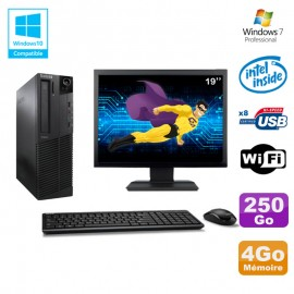 Lot PC Lenovo M91p 7005 SFF G630 2,7Ghz 4Go 250Go WIFI W7 Pro + Ecran 19
