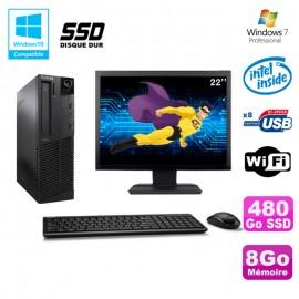 Lot PC Lenovo M91p 7005 SFF G630 2,7Ghz 8Go 480Go SSD WIFI W7 Pro + Ecran 22