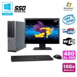 """Lot PC Dell 790 DT G630 2.7Ghz 16Go 480Go SSD DVD WIFI Win 7 + Ecran 22"""""""