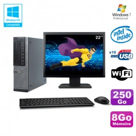 """Lot PC Dell 790 DT G630 2.7Ghz 8Go Disque 250Go DVD WIFI Win 7 + Ecran 22"""""""