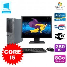 """Lot PC Dell 790 DT I5-2400 3.1Ghz 8Go Disque 250Go DVD WIFI Win 7 + Ecran 22"""""""