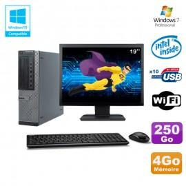 """Lot PC Dell 790 DT G630 2.7Ghz 4Go Disque 250Go DVD WIFI Win 7 + Ecran 19"""""""