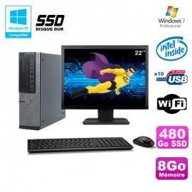 """Lot PC Dell 790 DT G630 2.7Ghz 8Go 480Go SSD DVD WIFI Win 7 + Ecran 22"""""""