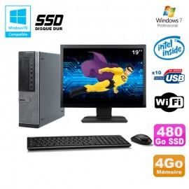 """Lot PC Dell 790 DT G630 2.7Ghz 4Go 480Go SSD DVD WIFI Win 7 + Ecran 19"""""""