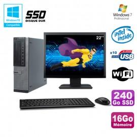 """Lot PC Dell 790 DT G630 2.7Ghz 16Go 240Go SSD DVD WIFI Win 7 + Ecran 22"""""""
