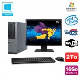 """Lot PC Dell 790 DT G630 2.7Ghz 16Go Disque 2000Go DVD WIFI Win 7 + Ecran 19"""""""