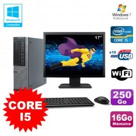 """Lot PC Dell 790 DT I5-2400 3.1Ghz 16Go Disque 250Go DVD WIFI Win 7 + Ecran 17"""""""