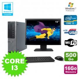 """Lot PC Dell 790 DT I3-2120 3.3Ghz 16Go Disque 500Go DVD WIFI Win 7 + Ecran 19"""""""