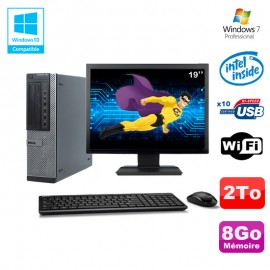 """Lot PC Dell 790 DT G630 2.7Ghz 8Go Disque 2000Go DVD WIFI Win 7 + Ecran 19"""""""