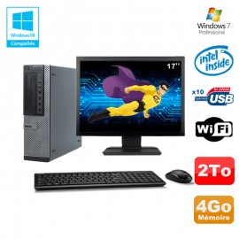 """Lot PC Dell 790 DT G630 2.7Ghz 4Go Disque 2000Go DVD WIFI Win 7 + Ecran 17"""""""