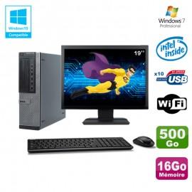 """Lot PC Dell 790 DT G630 2.7Ghz 16Go Disque 500Go DVD WIFI Win 7 + Ecran 19"""""""