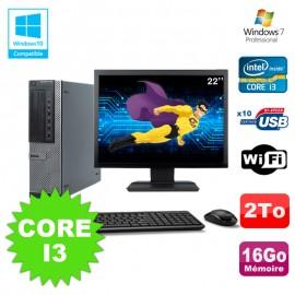"""Lot PC Dell 790 DT I3-2120 3.3Ghz 16Go Disque 2000Go DVD WIFI Win 7 + Ecran 22"""""""