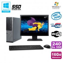 """Lot PC Dell 790 DT G630 2.7Ghz 16Go 240Go SSD DVD WIFI Win 7 + Ecran 17"""""""