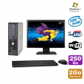 Lot PC Dell 380 SFF E5200 2.5Ghz 2Go Disque 250Go DVD WIFI Win 7 + Ecran 17""