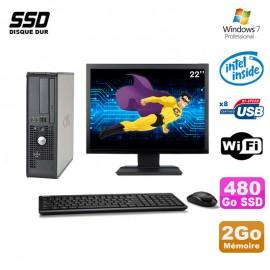 """Lot PC Dell 380 SFF E5200 2.5Ghz 2Go 480Go SSD DVD WIFI Win 7 + Ecran 22"""""""