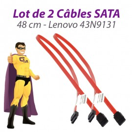 Lot x2 Câbles SATA 43N9131 Lenovo Think Center A25 M58 7359 48cm Rouge