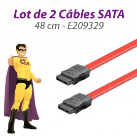 Lot x2 Câbles SATA E209329 26AWG 48cm Rouge