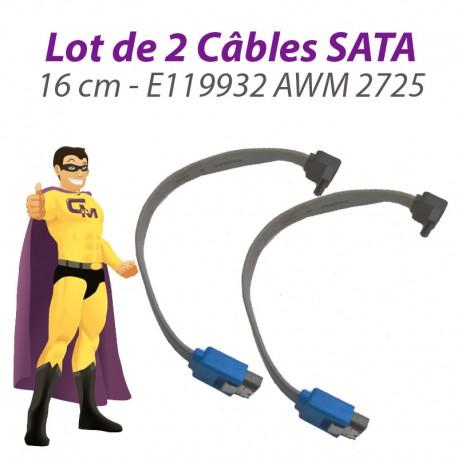 Lot x2 Câbles SATA E119932 AWM 2725 8019890100 16cm Gris