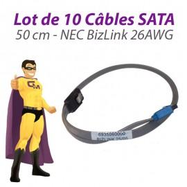Lot x10 Câbles SATA NEC BizLink 6935060000 26AWG PowerMate VL350 50cm Gris