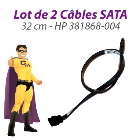Lot x2 Câbles SATA Hewlett Packard 381868-004 DC5750 SFF 32cm Gris Foncé