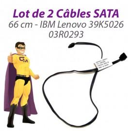 Lot 2 Câbles SATA IBM Lenovo 39K5026 03R0293 ThinkCentre M52 S51 66cm Gris Foncé
