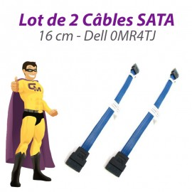 Lot 2 Câbles SATA Dell 0MR4TJ Inspiron 620S Optiplex 3010 PowerVault 16cm Bleu