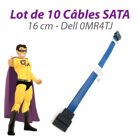 Lot 10 Câbles SATA Dell 0MR4TJ Inspiron 620S Optiplex 3010 PowerVault 16cm Bleu