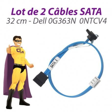 Lot 2 Câbles SATA Dell 0G363N G363N 0NTCV4 NTCV4 PowerEdge T110 32cm Bleu