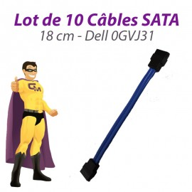 Lot 10 Câbles SATA Dell 0GVJ31 Dell Optiplex 960 210l GX520 GX620 3020 18cm Bleu