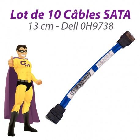 Lot 10 Câbles SATA Dell 0H9738 H9738 OptiPlex 745 755 760 GX620 USFF 13cm Bleu