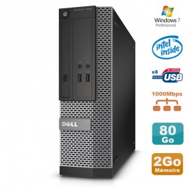 PC Dell Optiplex 3020 SFF Intel G3220 3GHz 2Go Disque 80Go DVD W7