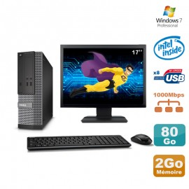 """Lot PC Dell Optiplex 3020 SFF Intel G3220 3GHz 2Go 80Go DVD W7 + Ecran 17"""""""