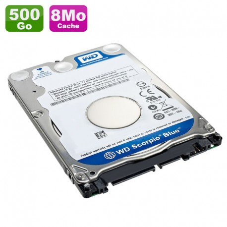"Disque Dur 500Go SATA 2.5"" WD Scorpio Blue WD5000BEVT-22A0RT0 5400RPM Pc Portable 8Mo"
