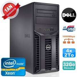 Serveur DELL PowerEdge T110 II NR Xeon Quad Core E3-1220 32Go Ram Ecc 4x 2To
