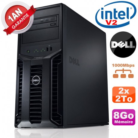 Serveur DELL PowerEdge T110 II NR Xeon Quad Core E3-1220 V2 8Go Ram Ecc 2x 2To