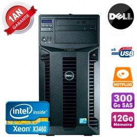 Serveur DELL PowerEdge T310 Xeon Quad Core X3460 12Go Ram Ecc 300Go SAS