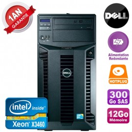 Serveur DELL PowerEdge T310 Xeon X3460 12Go 300Go Alimentation Redondante