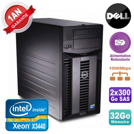 Serveur DELL PowerEdge T310 Xeon X3440 32Go 2x 300Go Alimentation Redondante