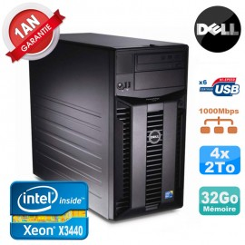Serveur DELL PowerEdge T310 Xeon Quad Core X3440 32Go Ram Ecc 4x 2To SATA