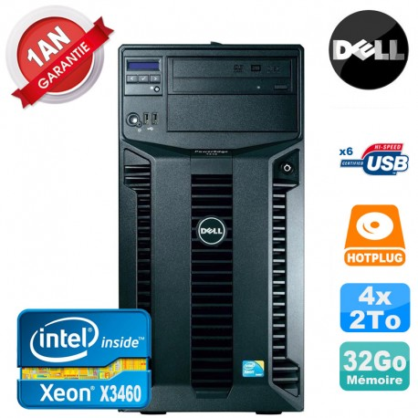 Serveur DELL PowerEdge T310 Xeon Quad Core X3460 32Go Ram Ecc 4x 2To SATA