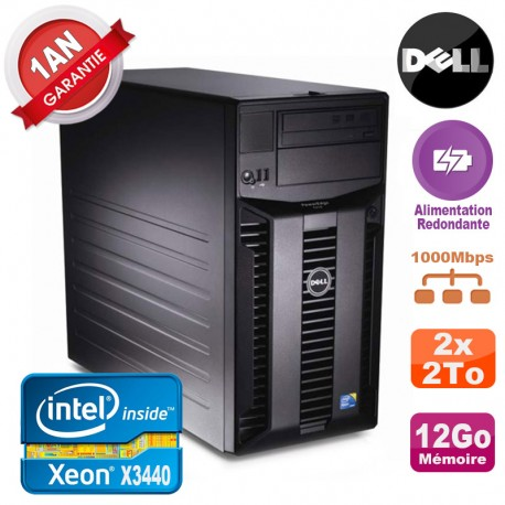 Serveur DELL PowerEdge T310 Xeon X3440 12Go 2x 2To Alimentation Redondante