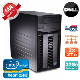 Serveur DELL PowerEdge T310 Xeon Quad Core X3440 32Go Ram Ecc 2x 2To SATA