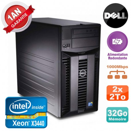 Serveur DELL PowerEdge T310 Xeon X3440 32Go 2x 2To Alimentation Redondante