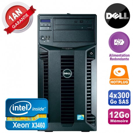 Serveur DELL PowerEdge T310 Xeon X3460 12Go 4x 300Go Alimentation Redondante