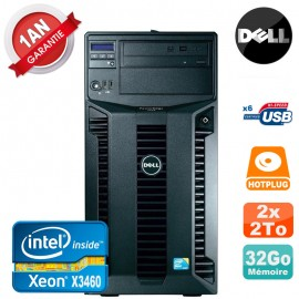 Serveur DELL PowerEdge T310 Xeon Quad Core X3460 32Go Ram Ecc 2x 2To SATA