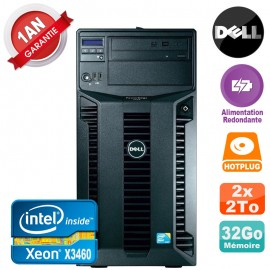Serveur DELL PowerEdge T310 Xeon X3460 32Go 2x 2To Alimentation Redondante